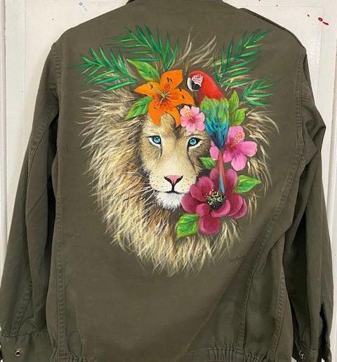 Lion au perroquet